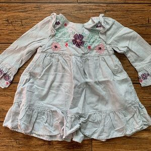 5 for $25 - Grey and White Stripe Dress w/ Flowers